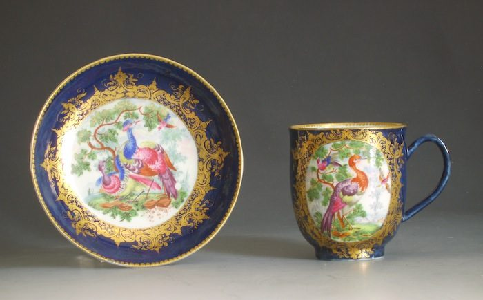 Worcester porcelain chocolate cup and saucer