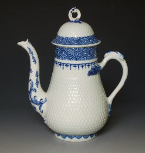 Rare Bow coffee pot of previously unrecorded shape