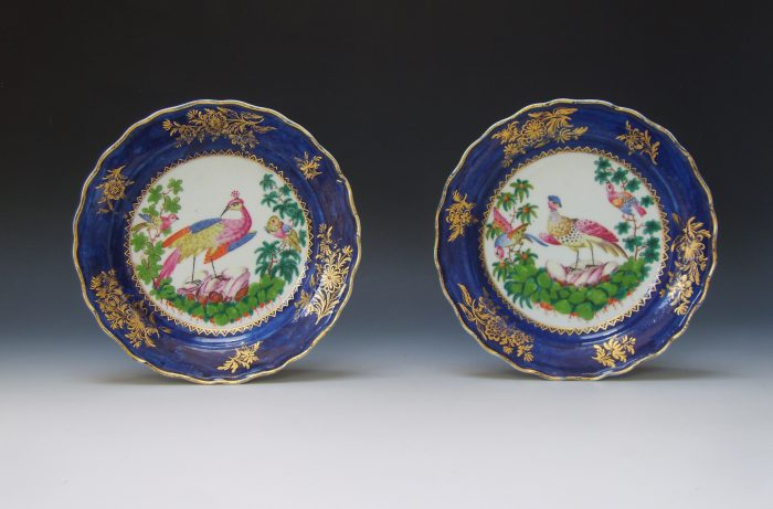 Pair of Bow blue ground plates