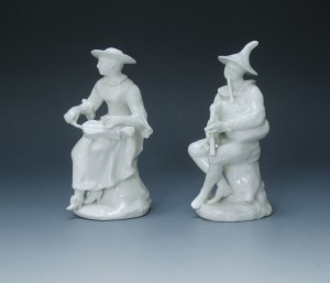 A pair of Bow figures of Harlequin and Columbine