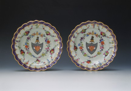 Pair of Worcester armorial plates