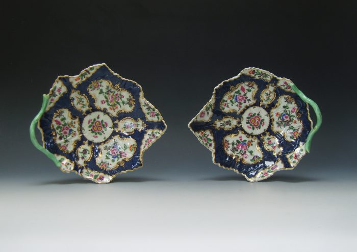 Pair of Worcester porcelain leaf shaped dishes