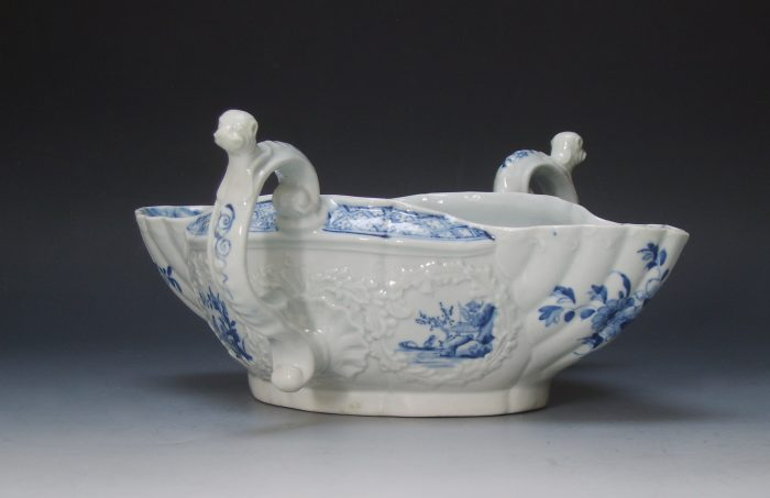 Worcester porcelain two handled sauceboat