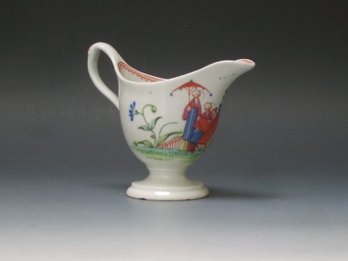 New Hall porcelain helmet shape jug with clip handle