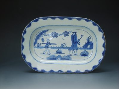 Bow porcelain rectangular dish