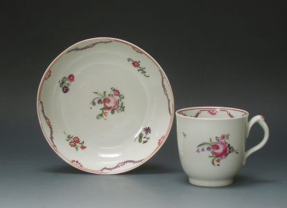 New Hall porcelain coffee cup and saucer