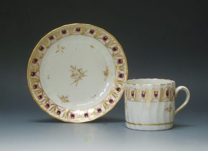New Hall porcelain coffee can and saucer