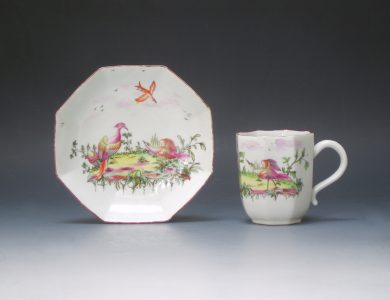 Longton Hall octagonal coffee cup and saucer