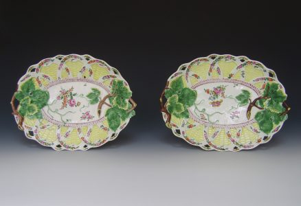 A pair of Worcester porcelain oval pierced dishes