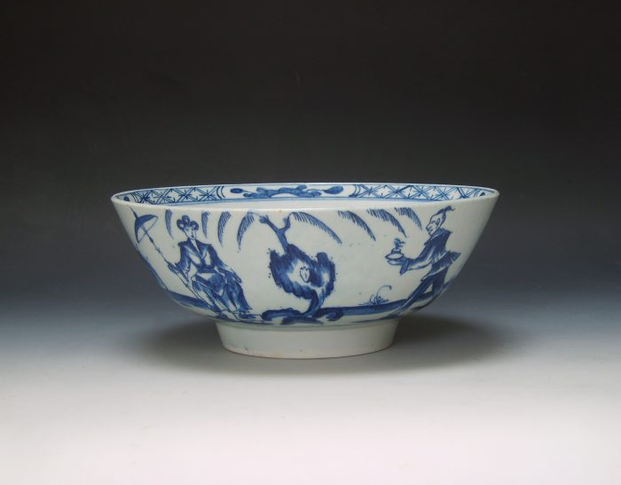 Lowestoft porcelain punch bowl